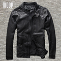 Black genuine leather jacket coat men 100% sheepskin motorcycle jackets chaqueta moto hombre veste cuir homme cappotto LT983