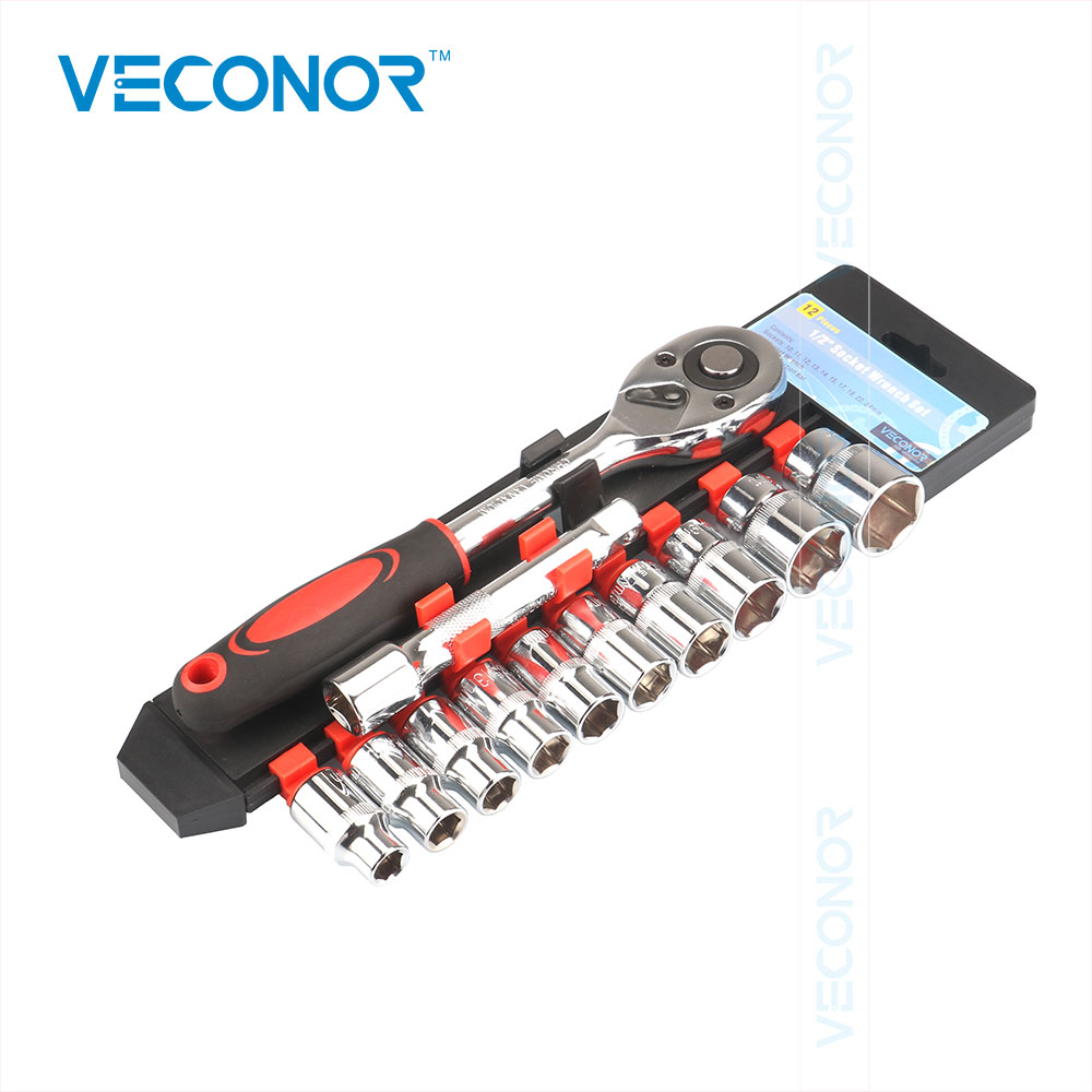 Veconor 1/2 Socket Wrench +10 Sockets +1 Extension Rod Drive Reversible Ratcheting Handle Torque Wrench For Repairing ratcheting wrench