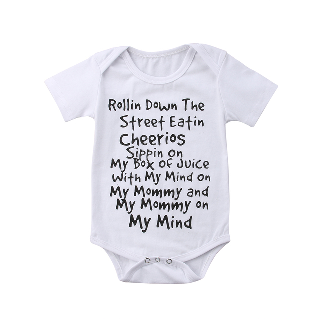 ee4510134 Summer Newborn Kids Baby Boys Girls Cute Letter Short Sleeves ...