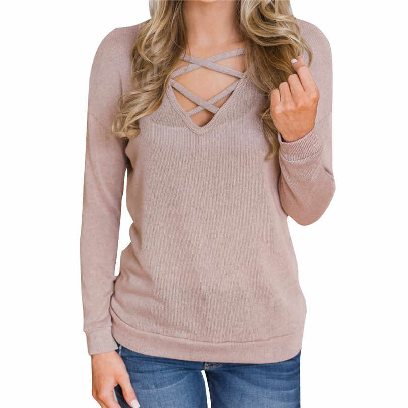 d4fadb5e5d78b Pullover Women Casual Bandage Sweater Long Sleeve Pullover Loose Knitted  Sweater Sueter Mujer Outwear Wholesales