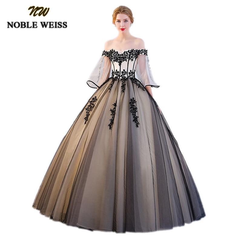 NOBLE WEISS Sexy off Épaule Robes de fiesta Noir Dentelle Robes de Bal Puffy Tulle robe de Bal Doux 16 Pageant Robes pour les Filles