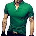 Новый 2017 Мода Лето Стиль С Коротким Рукавом Мужская Polo Рубашки Твердых цвета Хорошего Качества Вскользь V Шеи Хлопок Мужские Polo 4XL 5XL