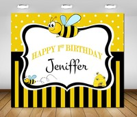 custom bee sweet gender neutral baby shower striped polka dot birthday backdrops Computer print party background