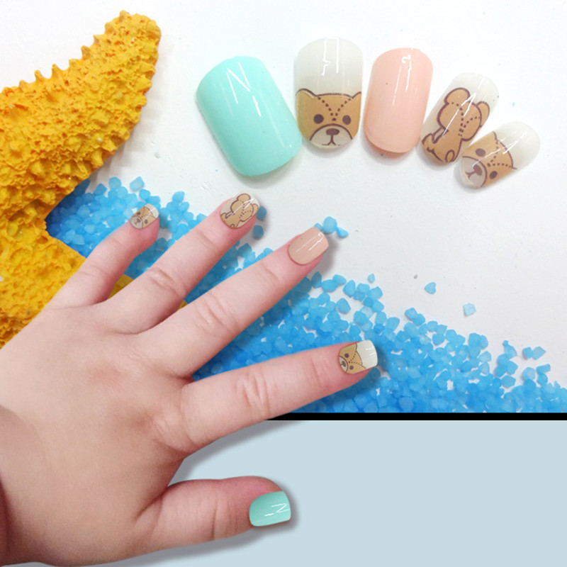 Cute Dog Children Fake Nail Tips Kids with Glue Full Cover False ...