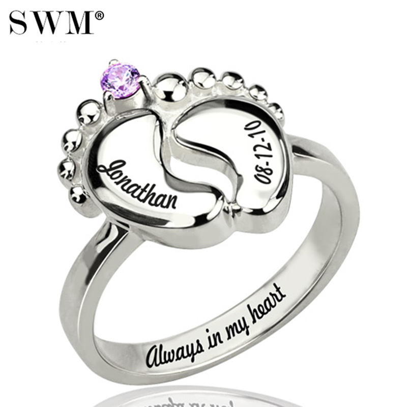 Women's Baby Feet Rings With Birth Stone Costume Letter Ring Silver 925 Custom Name Jewelry Gift for New Mom Bague Anillos Anel
