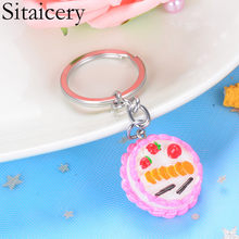 Sitaicery Keyrings Fruit Cake Key Chains Girls Women Bag Car Pendant Carabiner For Keys Jewelry Accessorise Keyholder Christmas(China)