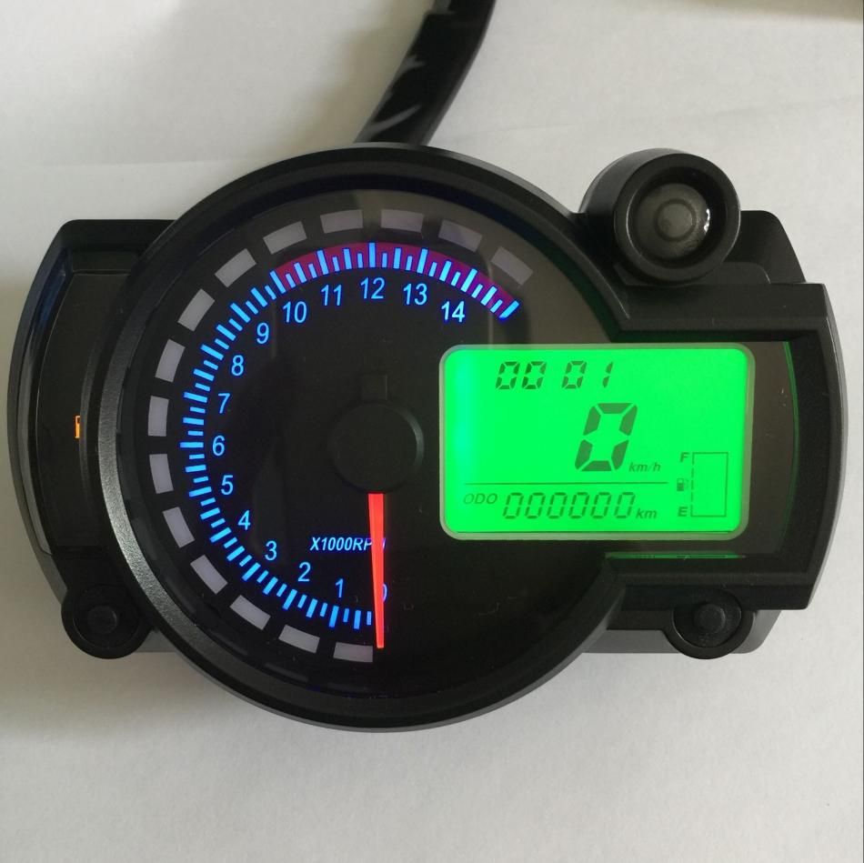 Qiilu Universal Motorcycle Digital Colorful LCD Speedometer Odometer Tachometer W// Speed Sensor