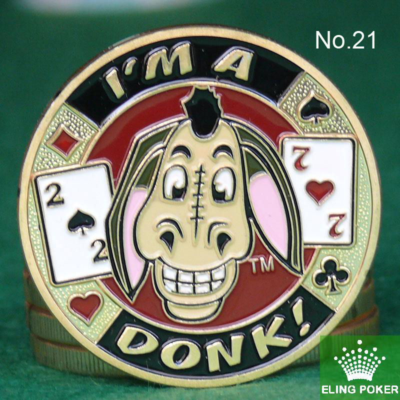 Metal for Pressing Poker Cards Guard Protector No.21  IM A DONK  Poker Chips Souvenir Coins