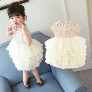 Image 5 - Boutique toddler girls lace dress children evening dress luxury baby 12M 6years tweed fabric gauze dress kids cake dresses
