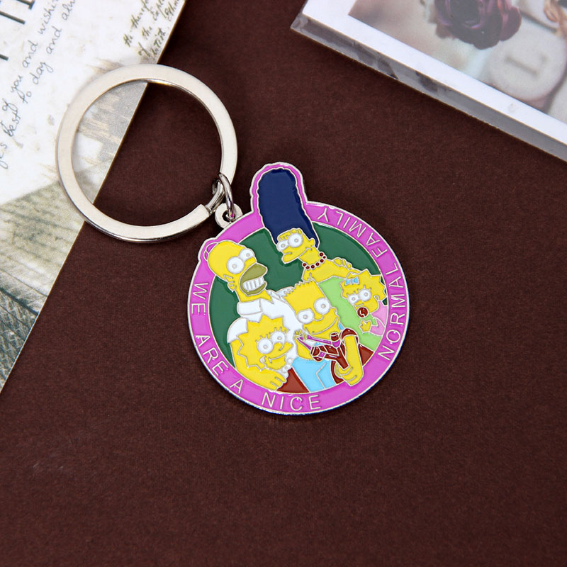 Cartoon Simpsons Keychain  Men And Women Family Love Key Ring Jewelry