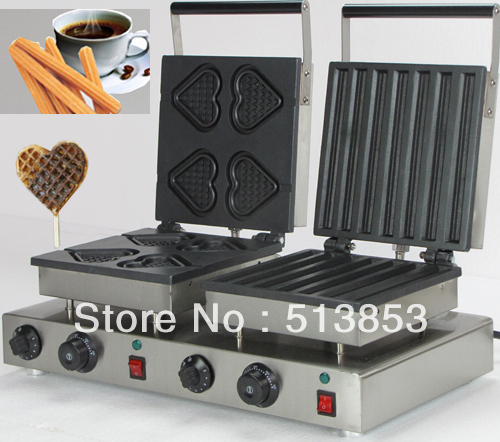 Free Shipping ,2013 hot sale! Doulbe-Head  Electric Churros & Heart Waffeleisen Waffle Maker Machine Baker economic and elegance waffle maker machine baker doulbe head electric churros with bar shaped and popsicle