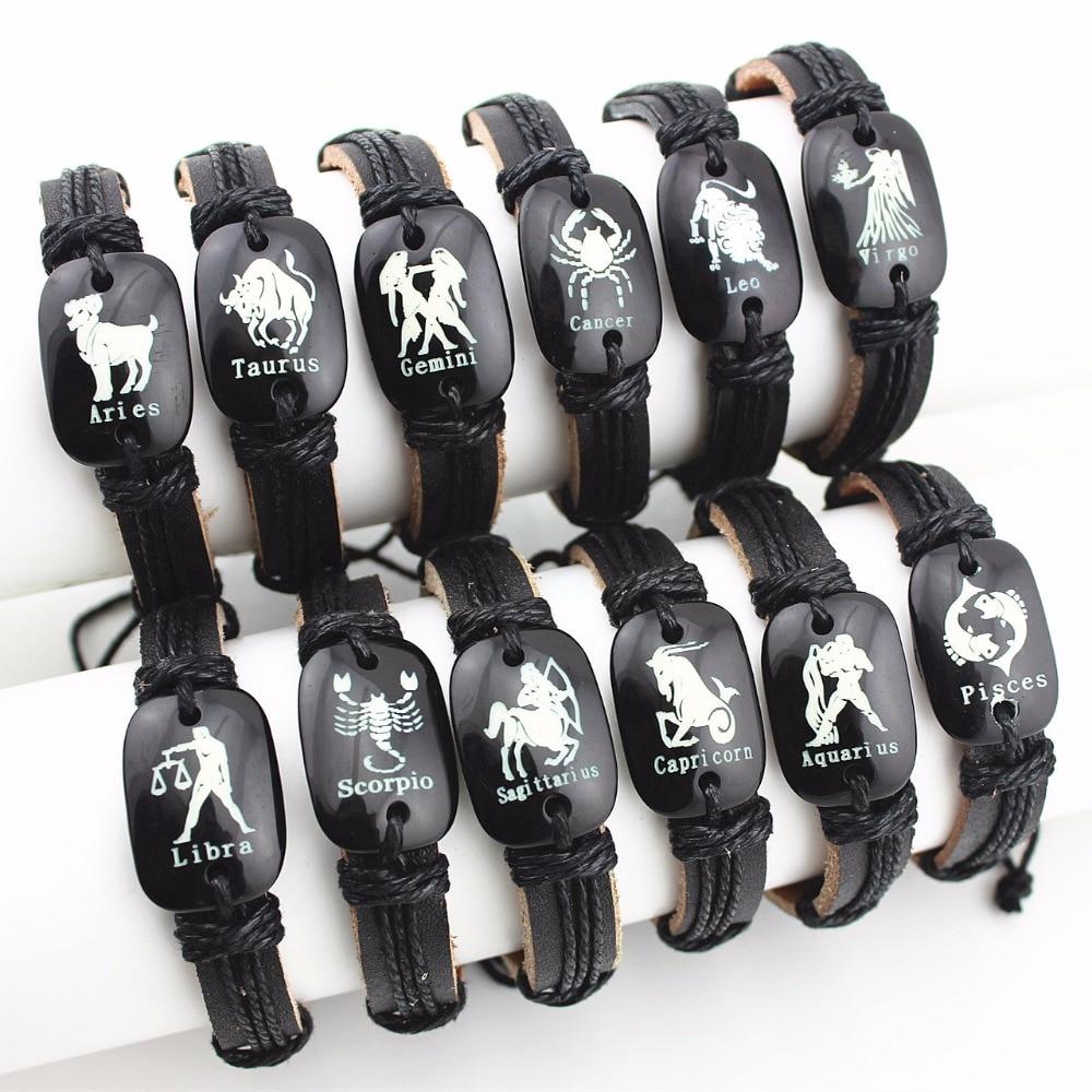 Mibrow 12pcs/lot Leather Bracelet Men Constellations Bracelet Women 12 Zodiac Horoscope Signs Bracelets Male Bracelets & Bangles