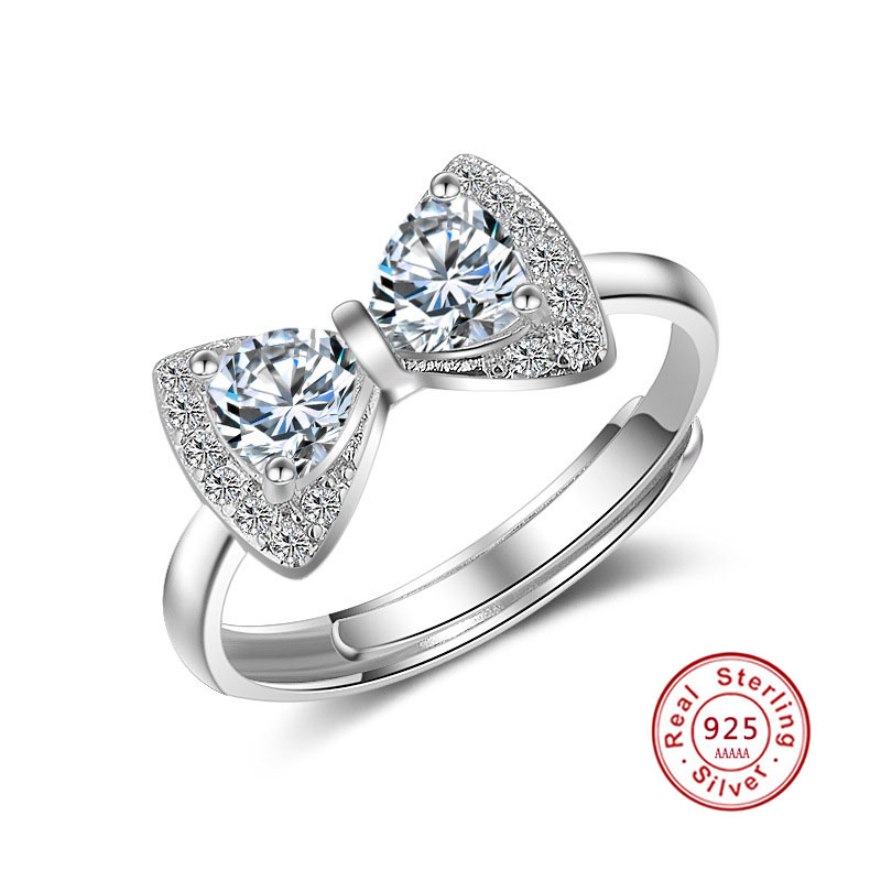 Sterling Silver 925 LADIES MICRO PAVE White Cz Bow Tie Rings