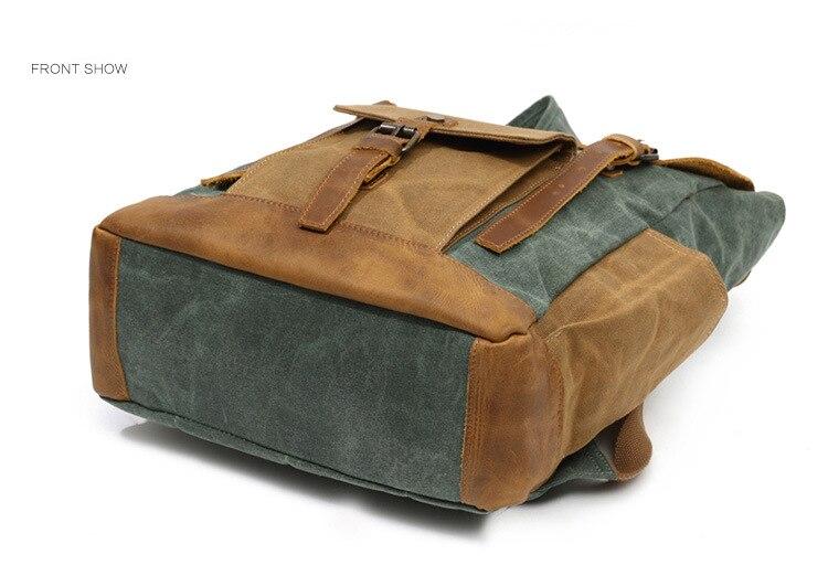 Retro Contrast Oil Wax Waterproof Canvas Bag Travel Backpack Computer Schoolbag Large Capacity Women Backpack 21