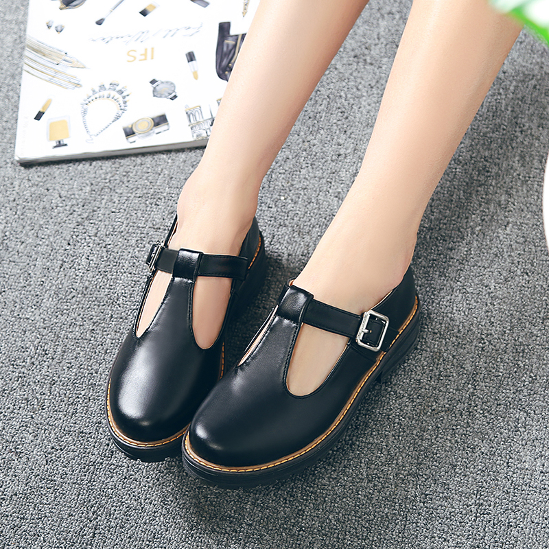 New Fashion Round Toe Women's Flats Shallow Mouth Mary Jane Women Flats Concise Ankle Strap Ladies Casual Flat Shoes Size 34-43