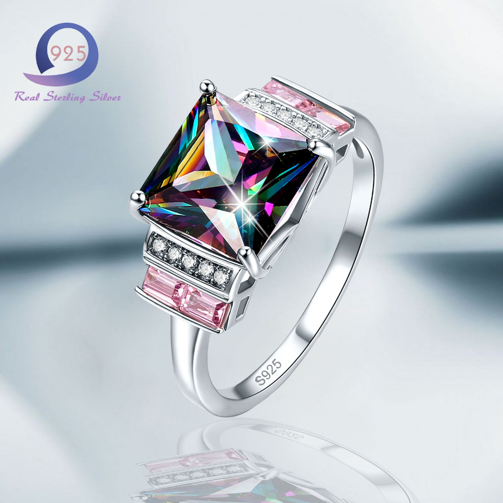 Free Gift Box Gift Rainbow Topaz 100/% S925 Sterling Silver Ring Size L½ N½ P½ R½