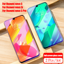2Pcs/lot 9H Tempered Glass for Huawei Nova 5 Pro 5i Screen Protector Full Cover For Protective Film