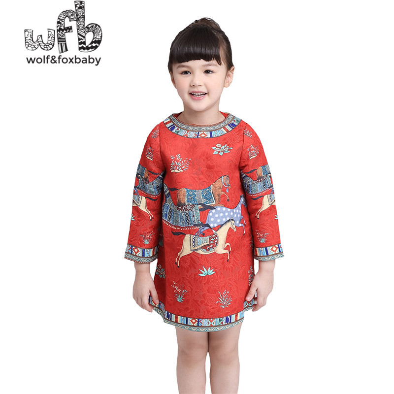 Retail 3-12 years dress printing horse full-sleeves O-neck cute red canonicals kids children spring autumn fall шпатлевка ceresit ст 95 25 кг полимерная готовая