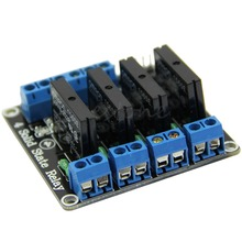 1pcs 5V DC 4 Channel SSR Solid State Relay 2A module High Level for font b