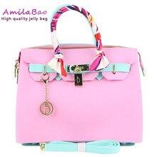 ФОТО jelly handbags pvc silicone luxury handbags women bags designer rainbow bags waterproof beach zipper bags with scarf me837