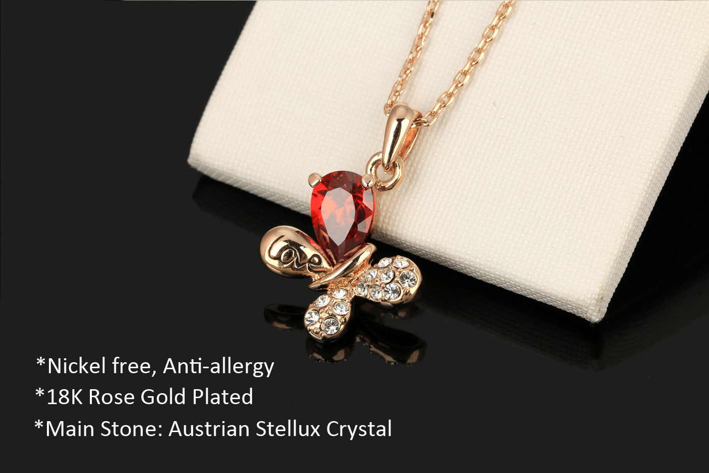 ダブルフェアローズゴールド赤色結晶蝶のペンダントネックレスロマンチックな記念日のギフトブランドジュエリー DFN379