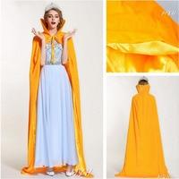 Women Miss Cloak Full Length 71 Gold Coat Elegant Robe Medieval Cape Shawl Cosplay Party Queen Princess Wizard Costumes Cloak