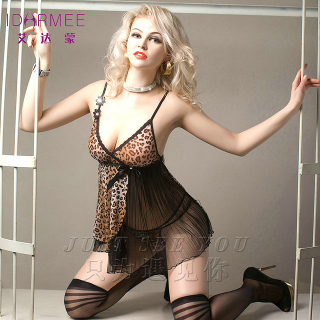 IDARMEE Top Grade New Women Sexy Lingerie Leopard Print Erotic Dress