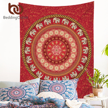 BeddingOutlet 5pcs Bed in a Bag Bedding Set Queen Elephant Print Duvet Cover Set USA Size Mandala Pattern Red Bedspread