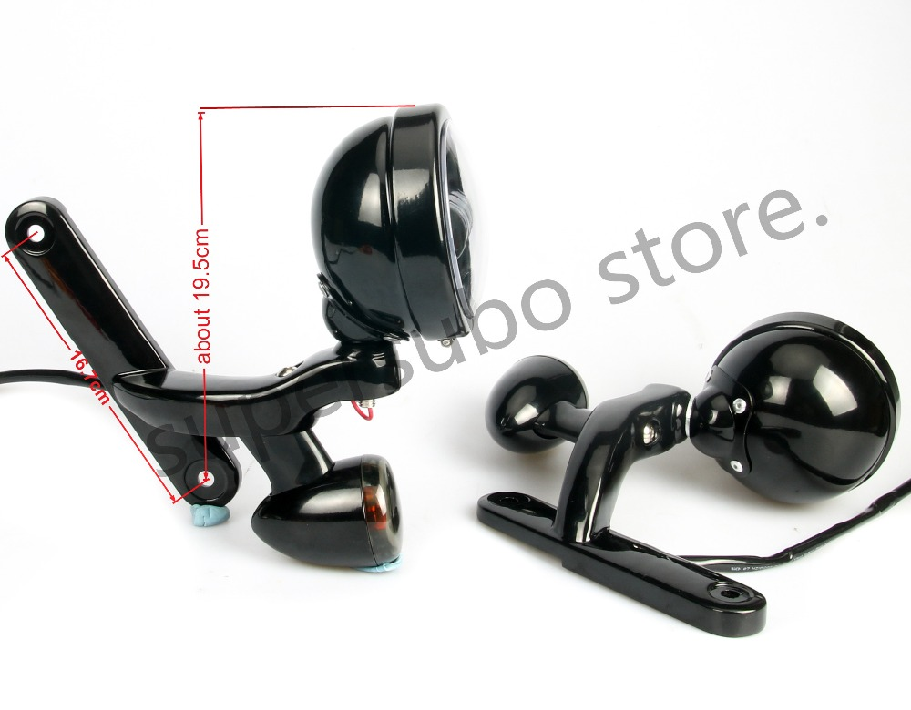 Motorcycle Black Auxiliary Lighting Brackets fog light with turn ...