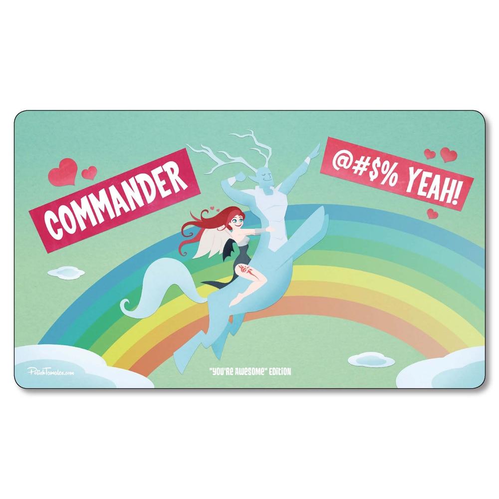 (Commander Anime Rainbow)Many Choice Magic Game Custom Playmat,Board Games MGT Play Mat,Custom Gather Big Mousepad with Free Bag
