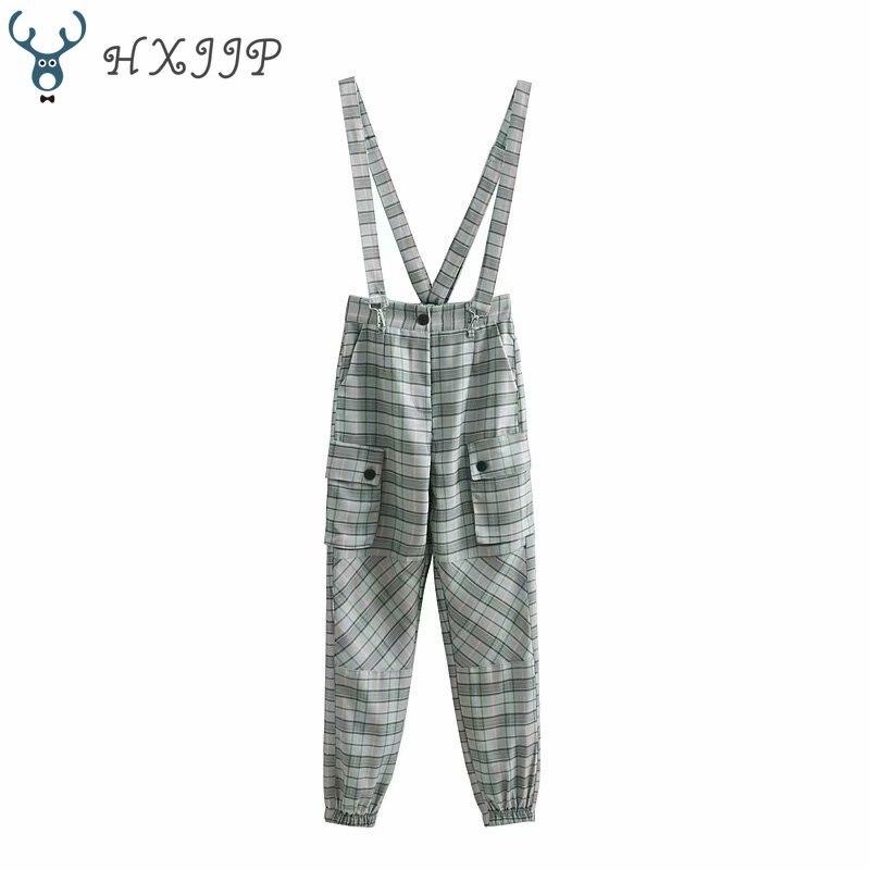 HXJJP  New Suspender Belt Trousers Workwear Long Pants Ladies Belt Trousers Full Length Casual Women