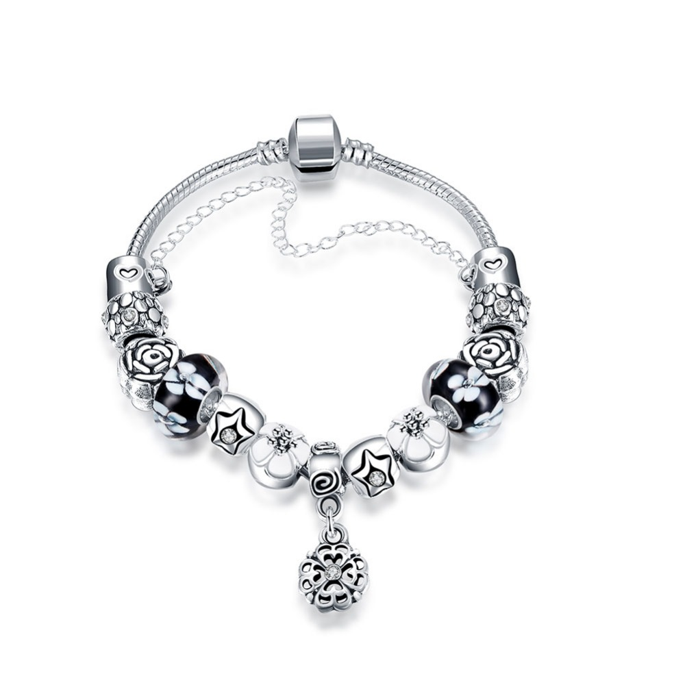 New Silver Charm European Hollow Flower Love Heart Beads Fit Pandor Bracelet & Bangle DIY Jewelry Romantic DIY Ladies Bracelet