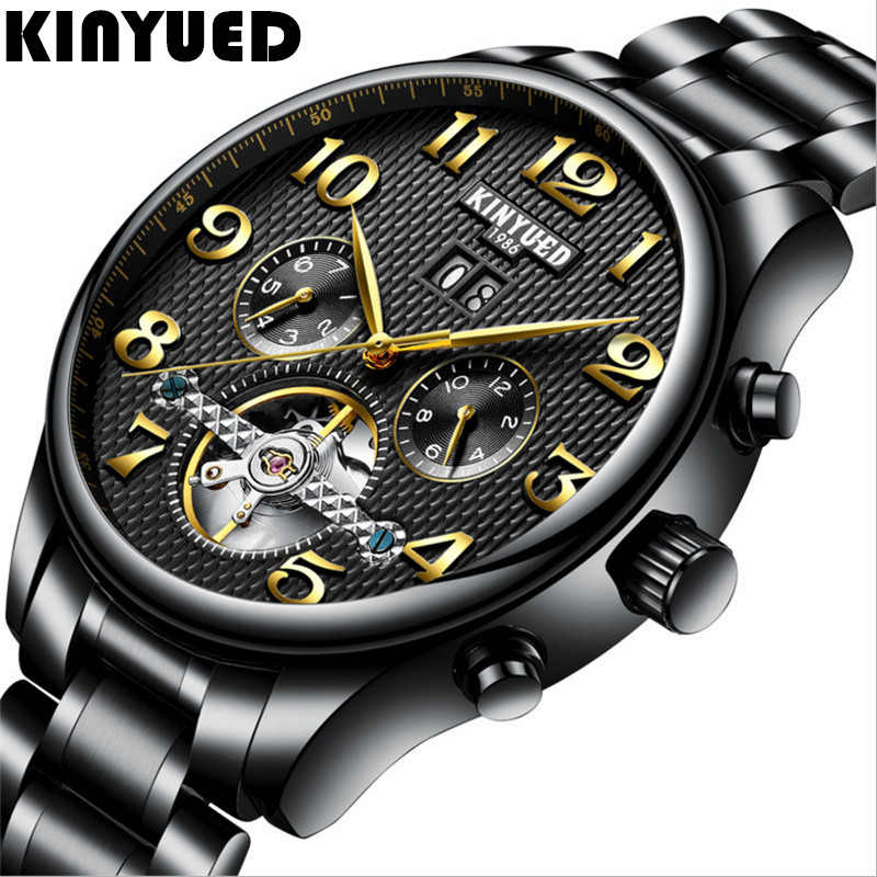 KINYUED Tourbillon Mechanical Watch Mens Skeleton Gold Automatic Men's Watch Stainless Steel Waterproof Relogio Mechanical wholesale wilon mens stainless steel mechanical skeleton watch