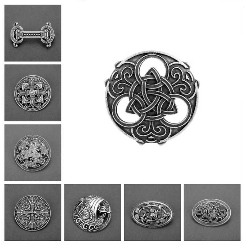 Round Celts Knot Brooch Viking Norse Jewelry Collar Badge Pin Viking Brooch Pins Women Mens Birthday Jewelry Gift