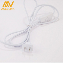 3PS T5 T8 1.5m Power Cord Cable US 2Prong Laptop AC Adapter Lead with Button switch EU Plug Light Switching White Wire Extension