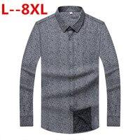 8XL 6X New Arrival 2018 Gray Shirt Men Long Sleeve Business Casual Shirts Men Dress Shirts Comfortable Clothing Camisa Masculina