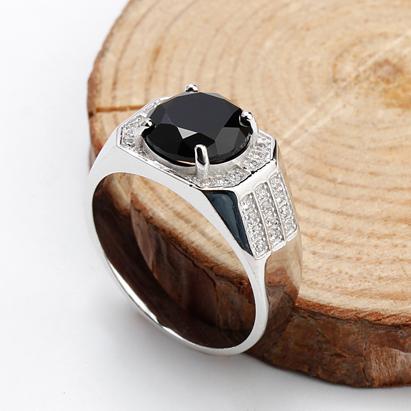 Real 925 Sterling Silver Men Ring With Geometric Black Cubic Zircon Stone Vintage Rings For Men Women Unisex Fashion Jewelry