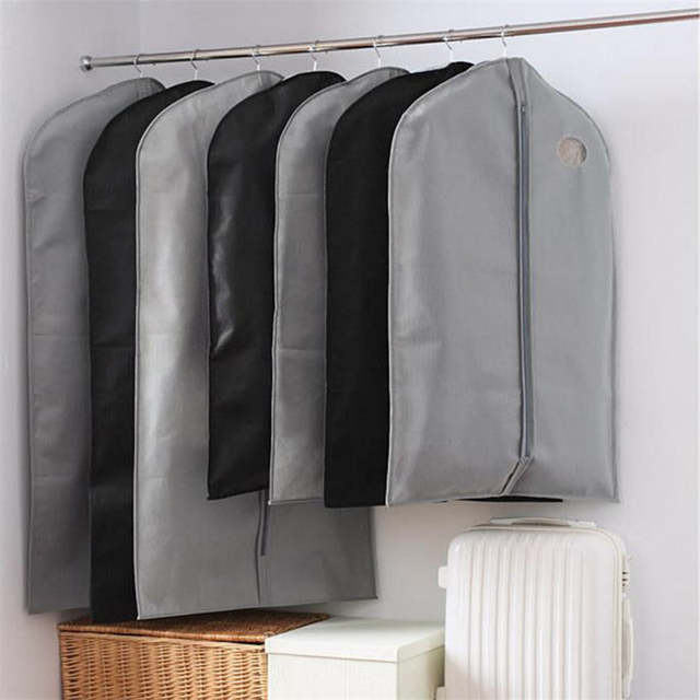 Us 3 01 10 Off Garment Bag Clothes Suits Dust Cover Bags Black Gray Wardrobe Storage Non Woven Fabric Household Dustproof Hanger In Hanging