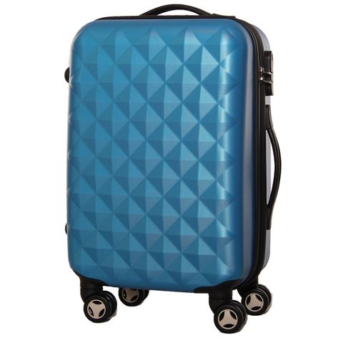 Bright blue suitcase PROFFI TRAVEL PH8368 darkblue M medium plastic handle with combination lock fashionable suitcase with print proffi travel ph9209 m plastic medium with combination lock