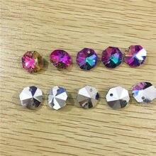 2018 nieuwe 100 pieces achthoek kralen in 2 gaten cut facet kristal glazen kralen geschikt voor gordijnen kralen diy coating