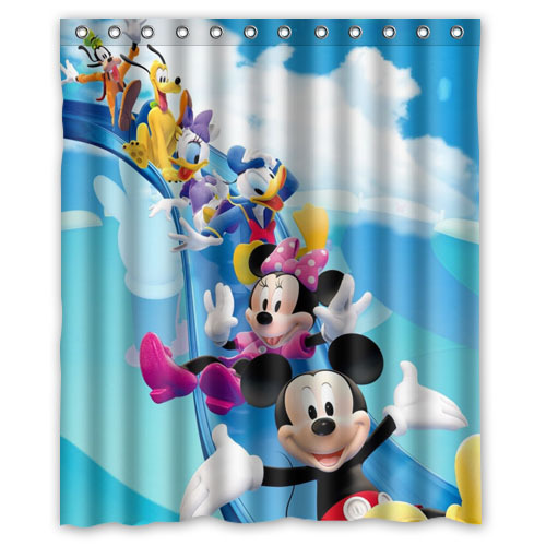 new fashion print mickey mouse and minnie mouse polyester shower curtain bathroom waterproof bath curtain with hooks 152x182cm