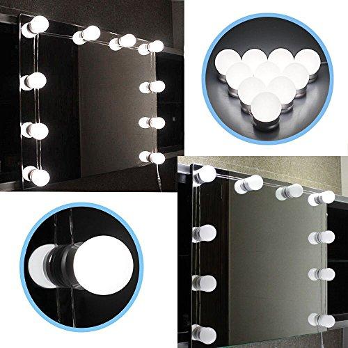 DGHGF estilo Hollywood, Kit de luces de espejo de tocador LED con bombillas de luz regulables, tira de accesorios de iluminación para el conjunto de tocador de maquillaje