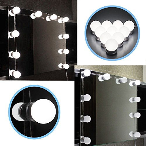 Style hollywoodien de DGHGF, Kit de lumières de miroir de vanité de LED avec les ampoules Dimmable, bande d'appareil d'éclairage pour l'ensemble de Table de vanité de maquillage