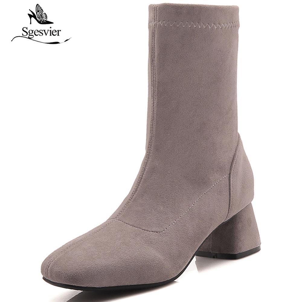 Tacón Mujer Botines gris 52 Elástico De Ox974 Alto Tamaño Femenino Negro Invierno Calzado Sgesvier 2018 amarillo Mujeres Zapatos Gruesas Rebaño Más 5wXqAH4tW