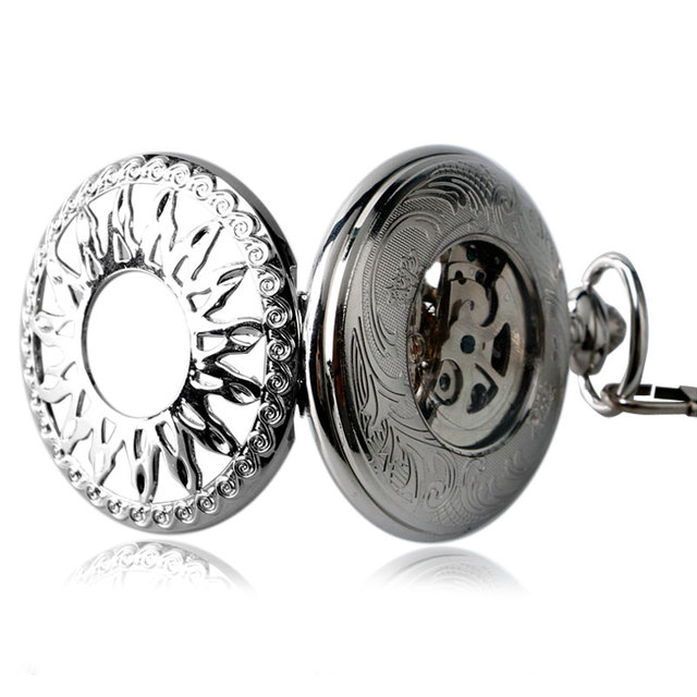 2016 Nursing Clock Automatic Mechanical Steampunk Fob Necklace Stylish Hollow Sun Pocket Watch Self Winding Women Men Xmas Gift