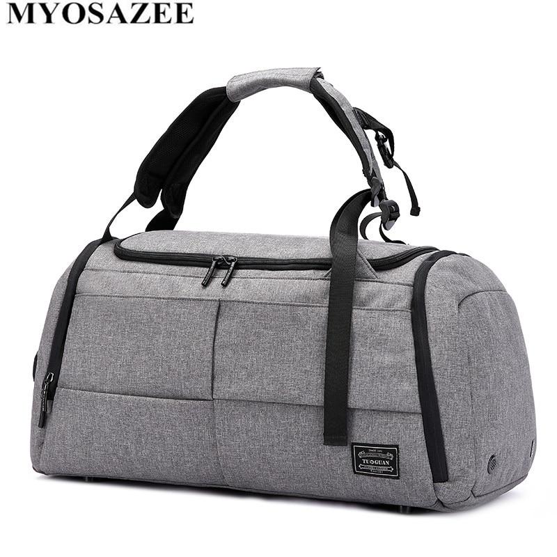 MYOSAZEE marque haute capacité sac de voyage hommes loisirs affaires multifonction Rusksack mâle mode sac à dos sac à main décontracté femmes