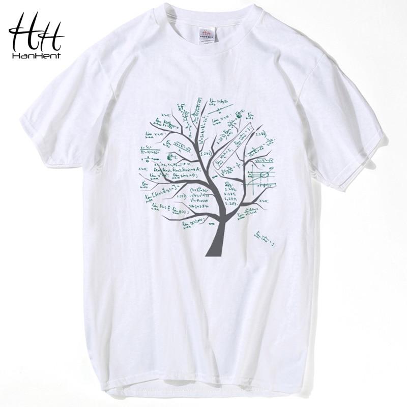 HanHent Mathematical Math Formula Tree Printed T-shirt Katoen ronde hals Tshirt Zomer Casual tops Swag Nerd Shirt Heren T-shirt