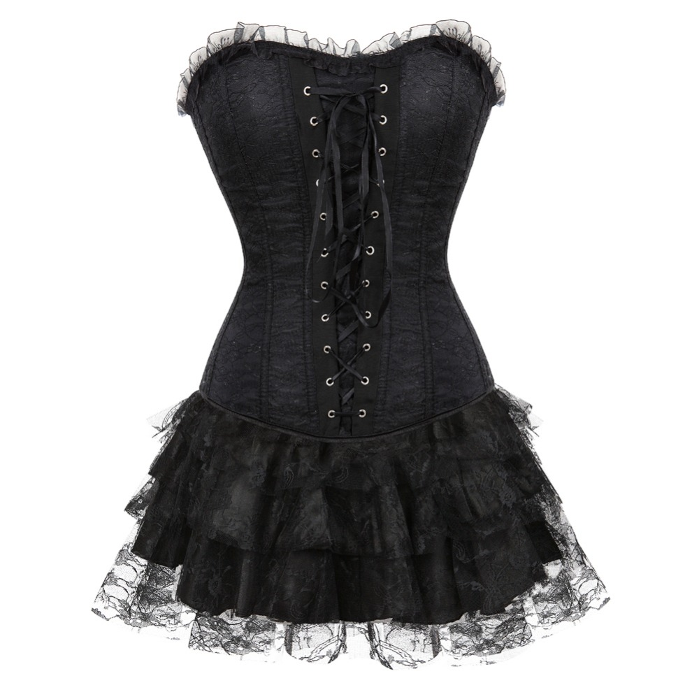 Women Multi-layer Lace trim Satin   Corset   Dress Sexy Slim Body Shaper   Bustier     Corset   with Lace Skirt New