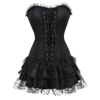 Women Multi layer Lace trim Satin Corset Dress Sexy Slim Body Shaper Bustier Corset with Lace Skirt New