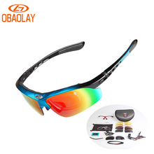 OBAOLAY UV400 Protection Bicycle Polarized Sunglasses Mountain Road Bike Cycling MTB Sports For Man Women Eyewear Goggles 5 lens